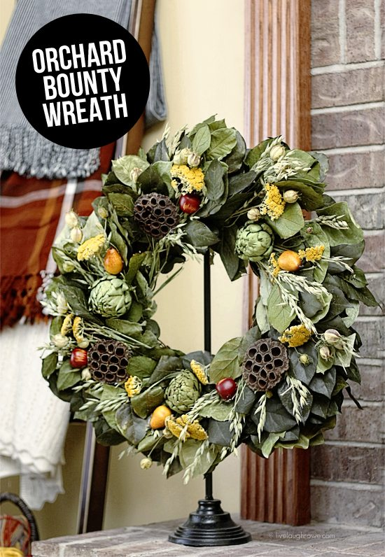 The gorgeous Orchard Bounty Wreath from The Wreath Depot!  More details at livelaughrowe.com #wreath