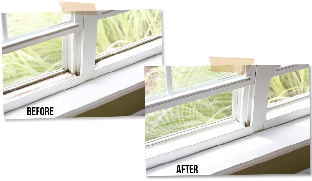 Before and after pics of window sills after using Mr. Clean Magic Eraser Handy Grip Outdoor Pro and other cleaning products. A great planning printable for your Fall cleaning plans too!  livelaughrowe.com