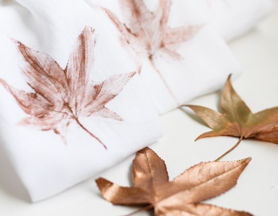 DIY Leaf Stamped Tea Towels