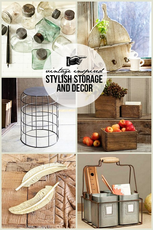 Vintage inspired stylish storage and decor from The Painted Fox. Learn more at www.livelaughrowe.com #vintage #storage #decor