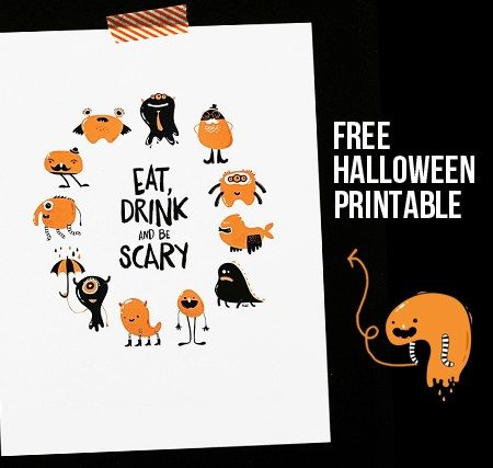 Super fun and ADORABLE Eat Drink and Be Scary printable. Perfectly Halloween, but is sure to make you smile! www.livelaughrowe.com