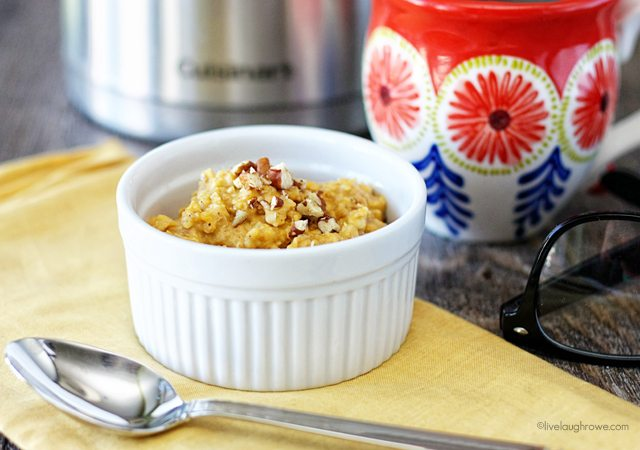 Get a serving of veggies in the morning with this deliciou Pumpkin Oatmeal recipe. Recipe at livelaughrowe.com #pumpkin #oatmeal