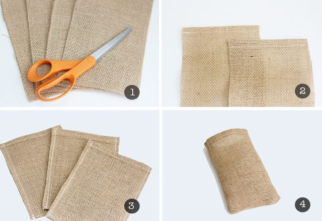 Four easy steps to make your own halloween treat bags with burlap and a few other supplies!