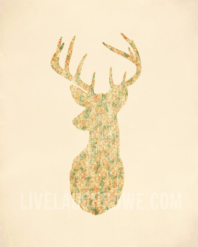 Free Deer Silhouette Printable with vintage florals. Great addition to your fall decor. www.livelaughrowe.com #deersilhouette #printable