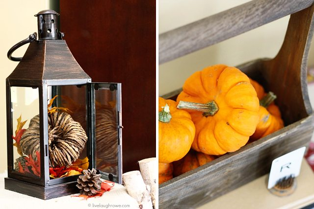 Fall decor to inspire! I love using a lot of natural elements. How about you? livelaughrowe.com #fallhometour #falldecor