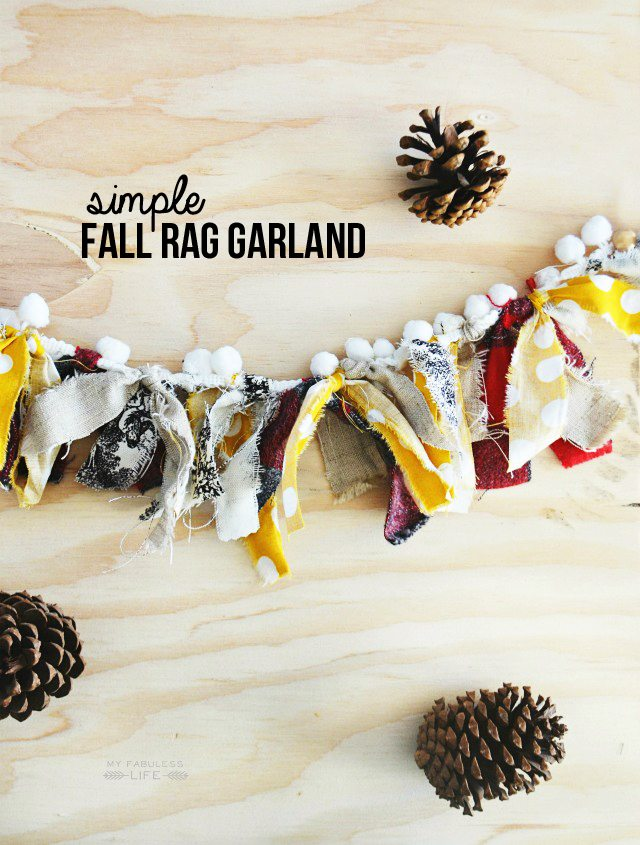 Darling Fall Rag Garland using scrap fabric and pom pom trim! Make one for yourself in minutes! Tutorial at livelaughrowe.com #fall #fallgarland