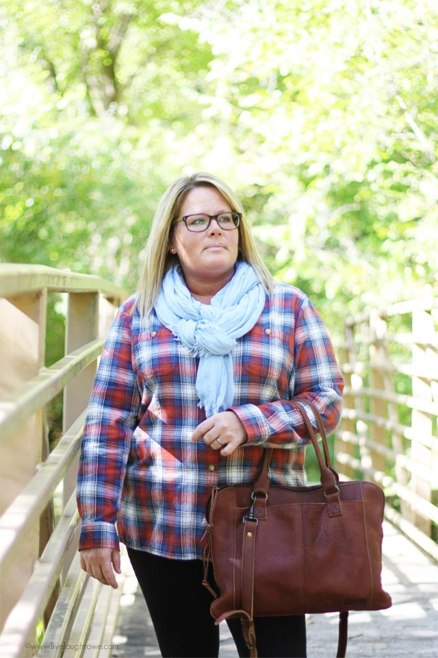 Love the fall ensemble!  Flannel shirt, scarf and boots.  www.livelaughrowe.com #wiww #fallfashion