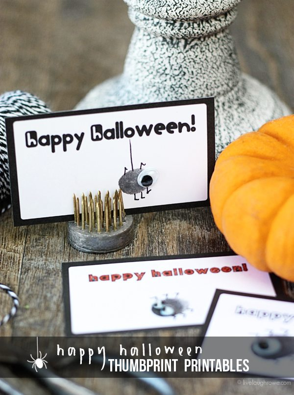 The perfect Halloween kids craft. Happy Halloween Thumbprint Printables with livelaughrowe.com