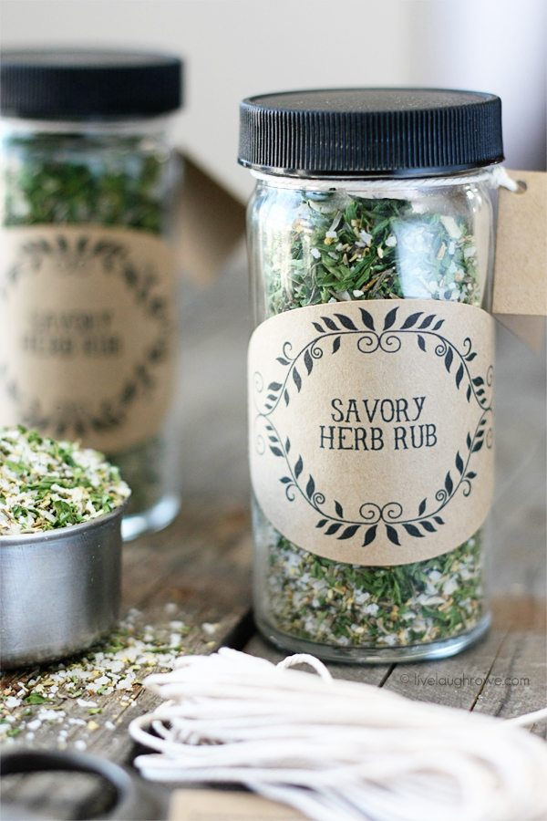 A quick and easy Savory Herb Rub that is perfect for gift giving or adding a medly of flavor to your pork, chicken, lamb or fish. Recipe and Labels at livelaughrowe.com #herbrub