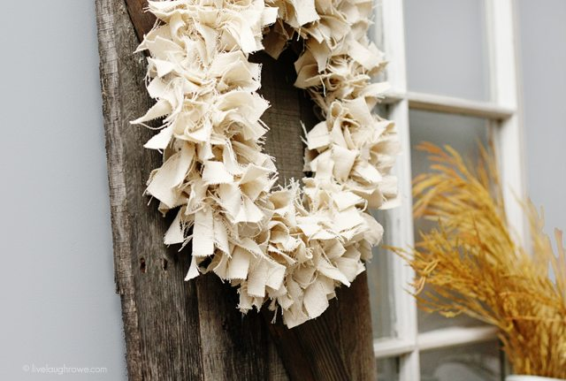 Simple Neutral Fall Wreath. You have to see what was used to make this -- it's not your typical fabric. More info at livelaughrowe.com