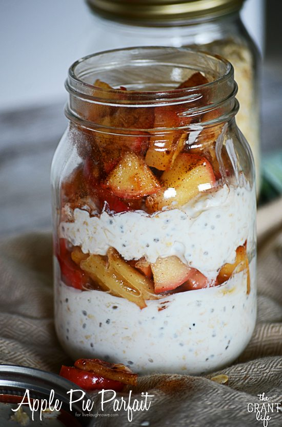 Apple Pie Parfait. Perfect for breakfast, an afternoon snack or a quick dessert by The Grant Life for www.livelaughrowe.com