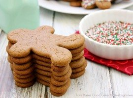 These Chocolate Gingerbread Man Cookies have just a hint of chocolate with plenty of gingery spice. They are perfect for holiday cookie trays or for gift giving!