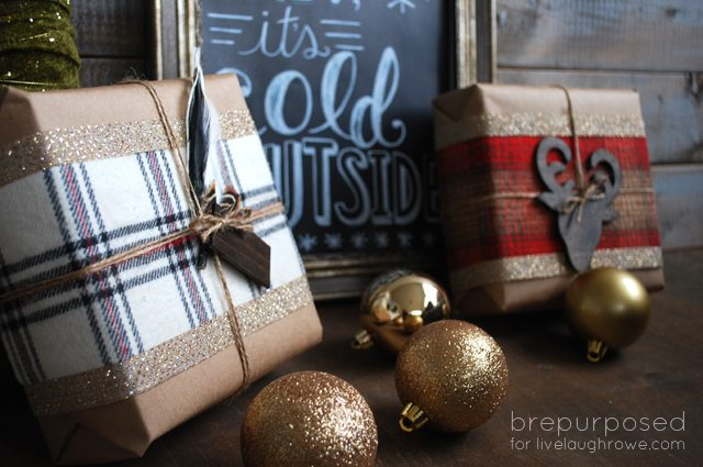 DIY Rustic Christmas Wrapping using flannel fabric, stain, feather and MORE!! By Bre Purposed for www.livelaughrowe.com