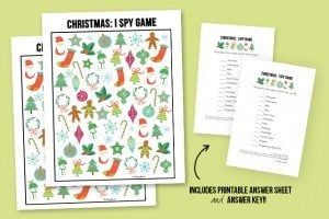 The perfect way to entertain the kids during all of the holiday travels! Christmas I Spy Printable -- with answer sheet! Print yours at livelaughrowe.com #christmas #ispy #printable
