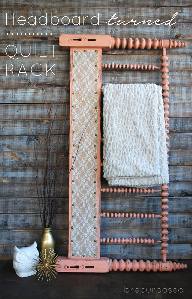 Headboard Turned Quilt Rack from BrePurposed