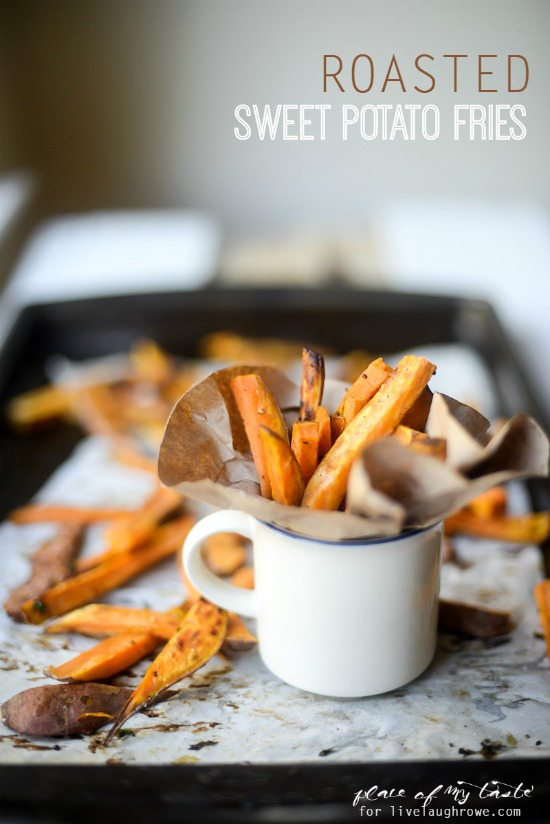 Roasted Sweet Potato Fries.  An easy side dish you can make in about 20-25 minutes.  Recipe from Place of My Taste for www.livelaughrowe.com