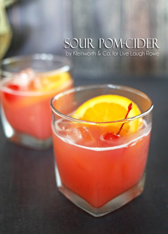 Delicious Sour Pom Cider! Serve these up at your next gathering. Recipe by Kleinworth & Co for www.livelaughrowe.com