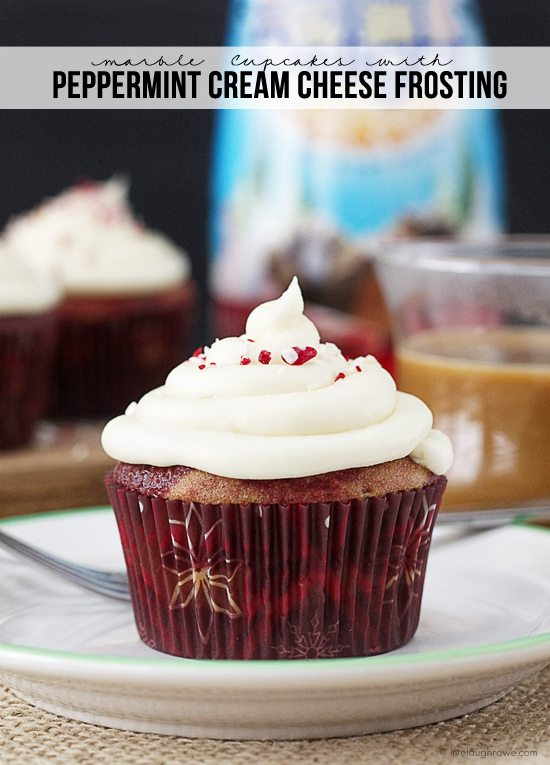 An explosion of color and flavors that is perfect for the holidays! Marble Cupcakes with Peppermint Cream Cheese Frosting. www.livelaughrowe.com #peppermint #cupcakes