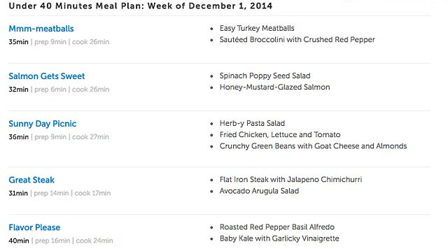Meal Plans from Cooking PlanIt