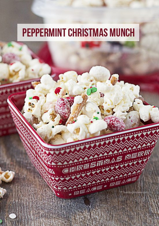 A delicious combination of sweet, salty -- and peppermint! The perfect holiday treat, Peppermint Christmas Munch. www.livelaughrowe.com