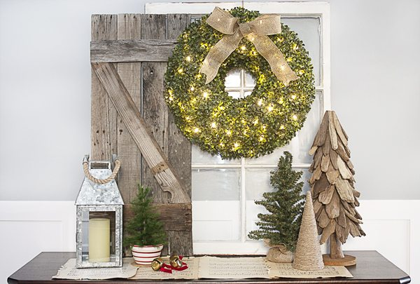 Simple Rustic Christmas Vignette with a bountiful Boxwood Wreath from Balsam Hill.  www.livelaughrowe.com