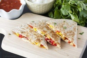 Skinny Chicken and Corn Quesadillas