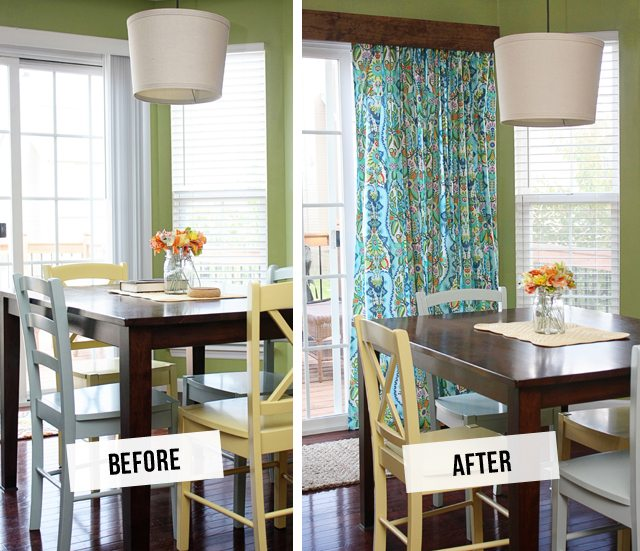 DIY Window Treatment for Sliding Glass Doors! Fantastic Before and After --  tutorial at