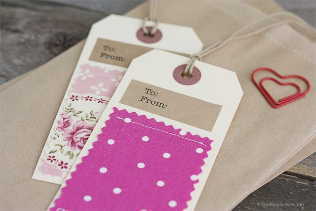 Fabric Gift Tags - Live Laugh Rowe