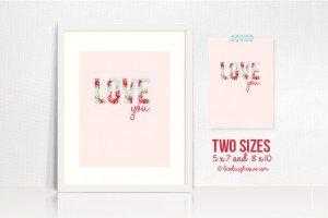 Shabby Chic Printable | Love you!
