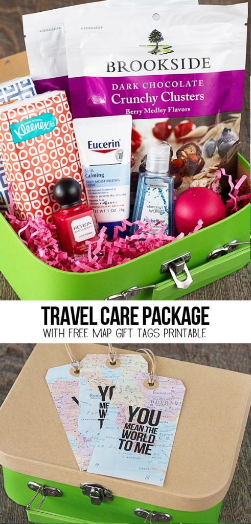 "A sweet travel themed care package with free map gift tags that say, ""You mean the world to me!"" More details at www.livelaughrowe.com #discoverbrookside"
