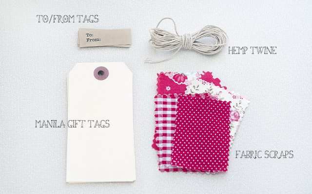 Supplies for DIY Fabric Gift Tags
