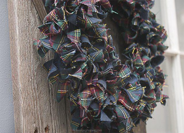 Winter Flannel Wreath using plaid scrap fabric. Here's a closer look... www.livelaughrowe.com