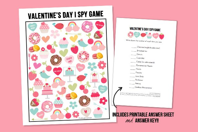 Valentine's Day I Spy Game and Answer Sheet Graphic