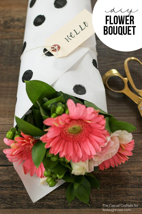 DIY Flower Bouquet with polka dot stamped paper by The Casual Craftlete for www.livelaughrowe.com