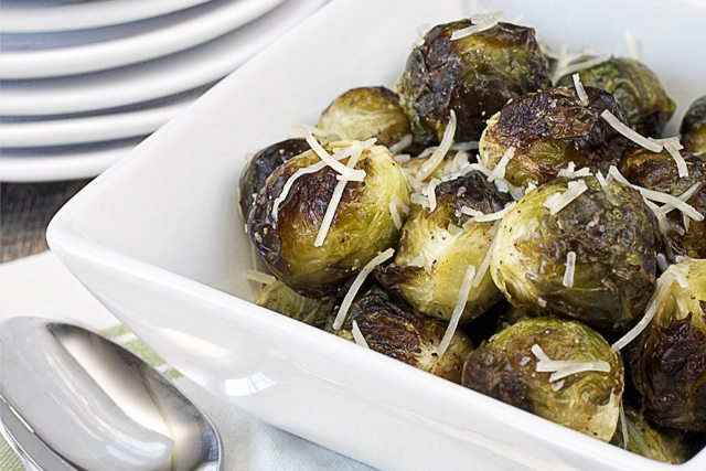 Roasted vegetables are the best!  A perfectly healthy side dish, Roasted Brussel Sprouts.  Recipe at www.livelaughrowe.com #roastedvegetable