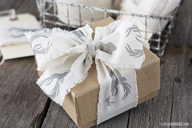 Learn how to make your own hand stamped ribbon with muslin! Tutorial at www.livelaughrowe.com