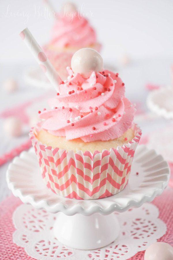 Strawberry Milkshake Cupcakes - Living Better Together