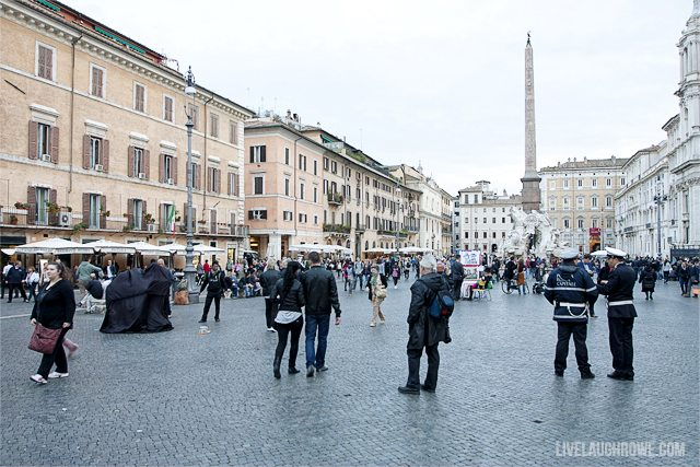 Piazza Navona.  This oblong square retains the shape of the original racetrack that was built around A.D. 80