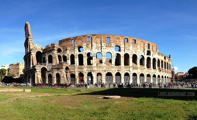 Roman Colosseum.  A 2,000 year old building and is a classic example of Roman engineering.