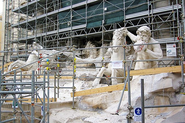 Trevi Fountain was under construction.