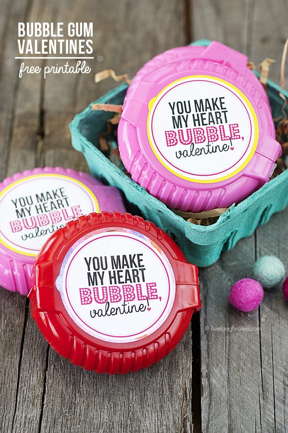 picture regarding Bubble Valentine Printable referred to as Bubble Gum Valentines Printable - Are living Chuckle Rowe