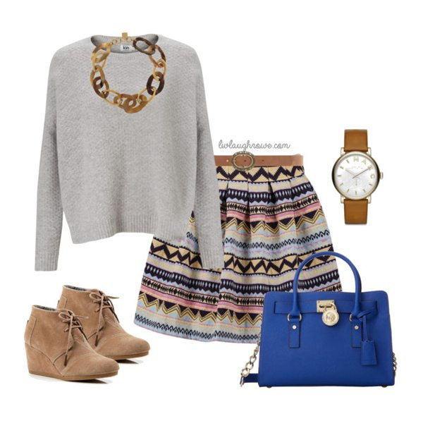Love the aztec print on the skirt!  www.livelaughrowe.com #fashion #spring