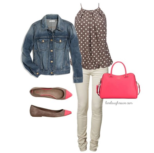 Pink and Brown! Love this casual outfit.  #spring #fashion