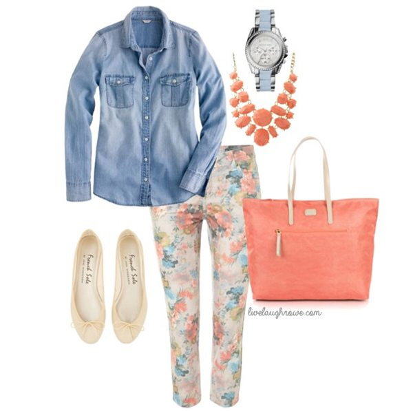Love the combination of floral and denim!  I want this outfit.