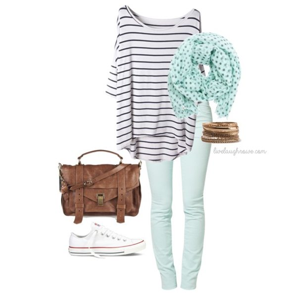 Love the mint paired with stripes and polka dots!  www.livelaughrowe.com #fashion #spring