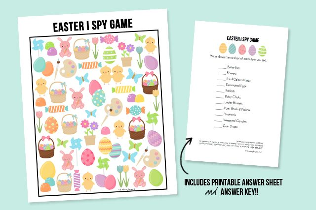 The perfect way to entertain the kids this Easter!  This sweet Easter I Spy Printable comes with an answer sheet and answer key too!  Print yours at livelaughrowe.com #easter #ispy #printable