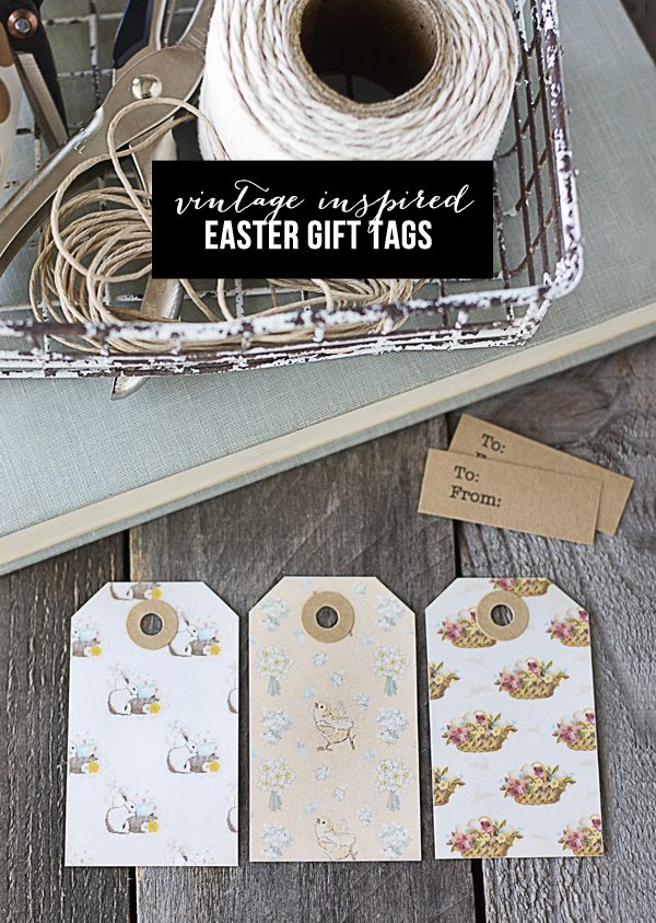FREE Vintage Inspired Printable Easter Gift Tags. Simply print and cut! www.livelaughrowe.com #easter
