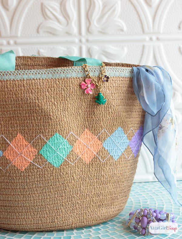 Argyle Pattern Spring Tote Bag - Atta Girl Says