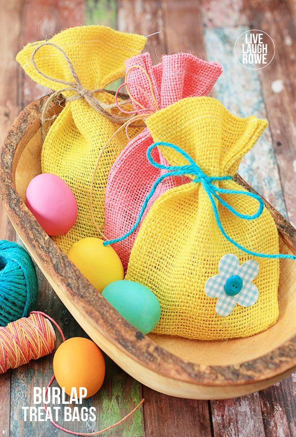 DIY Burlap Treat Bags perfect for Easter or Spring! Perfect for gifting sweets or small toys.  livelaughrowe.com #spring #easter #burlap