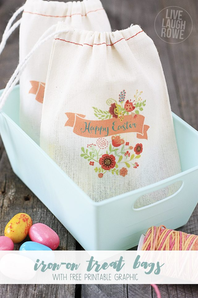 Free Spring and Easter Iron-On Transfers! These make great little treat bags for gifting. Free iron-transfer printables at livelaughrowe.com